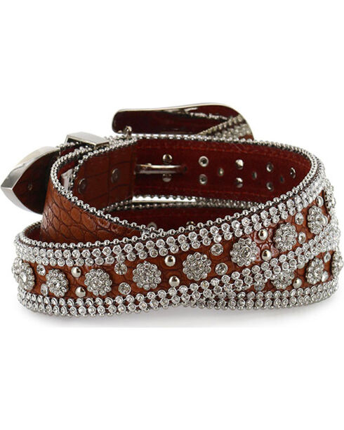 Angel Ranch Women's Rhinestone Faux Gator Belt, Brown, hi-res