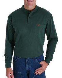 Wrangler Riggs Men's Long Sleeve Pocket Henley - Big, Green, hi-res