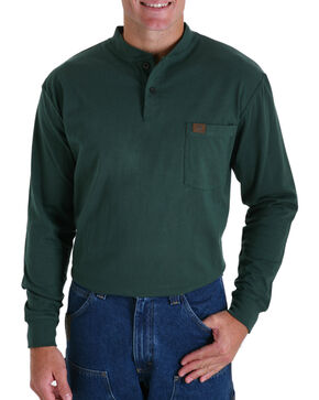 Wrangler Riggs Men's Long Sleeve Pocket Henley - Big, Green, hi-res