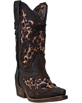 Laredo Kid's Leopard Underlay Western Boots, Brown, hi-res