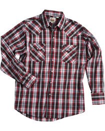 Ely Cattleman Men's Burgundy Textured Plaid Snap Shirt , , hi-res