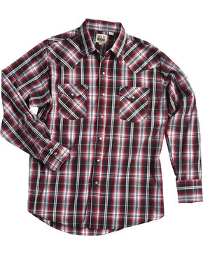 Ely Cattleman Men's Burgundy Textured Plaid Snap Shirt , Red, hi-res