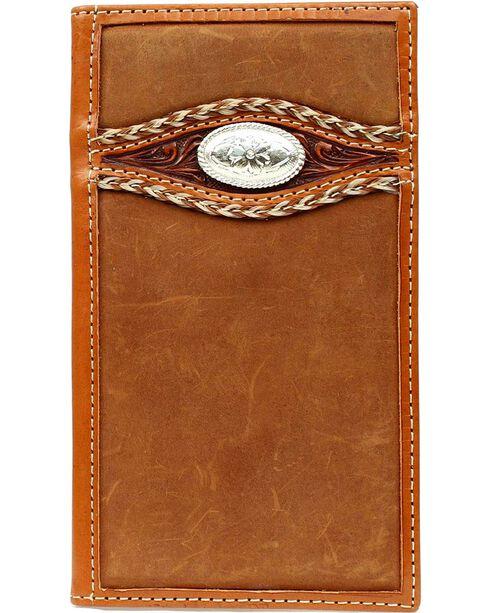 Ariat Men's Bi-fold Rodeo Embellished Wallet, Med Brown, hi-res
