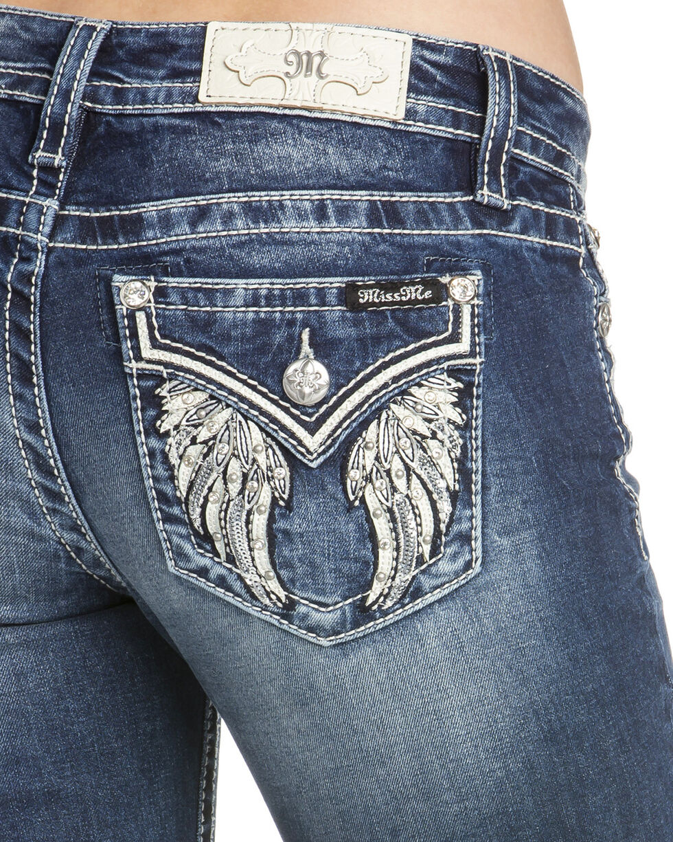 Miss Me Women's Angel Wings Boot Cut Jeans, Blue, hi-res