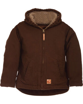 Berne Toddler Boys' Washed Sherpa-Lined Hooded Jacket, Bark, hi-res