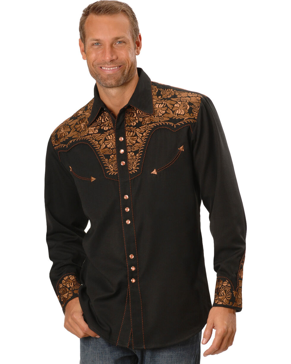 Scully Men's Copper Embroidered Gunfighter Shirt, Black, hi-res