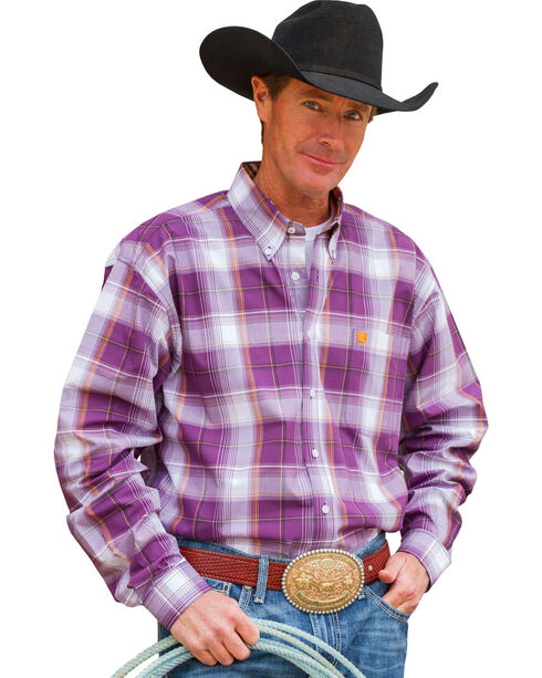 Cinch Men's Purple Long Sleeve Plaid Shirt , Purple, hi-res