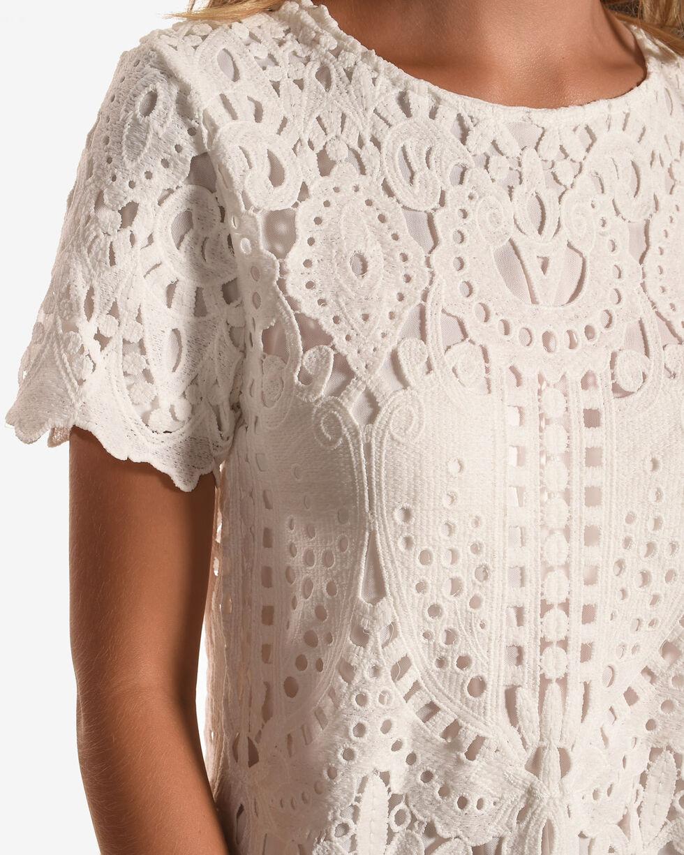 Polagram Women's Laser Cut Lace Short Sleeve Shirt, White, hi-res
