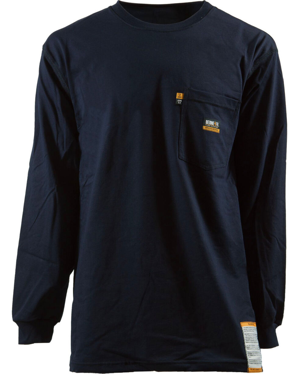 Berne Khaki Long Sleeve Flame Resistant Crew Neck T-Shirt - 3XL and 4XL, Navy, hi-res