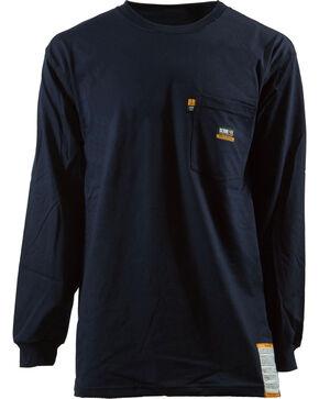 Berne Khaki Long Sleeve Flame Resistant Crew Neck T-Shirt - 5XL and 6XL, Navy, hi-res