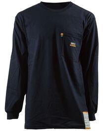 Berne Khaki Long Sleeve Flame Resistant Crew Neck T-Shirt - 3XT and 4XT, , hi-res