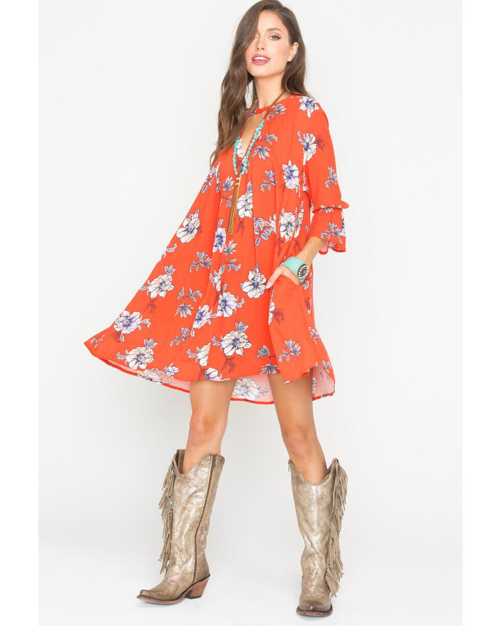 Polagram Women's Red Floral Patterned Dress , Red, hi-res