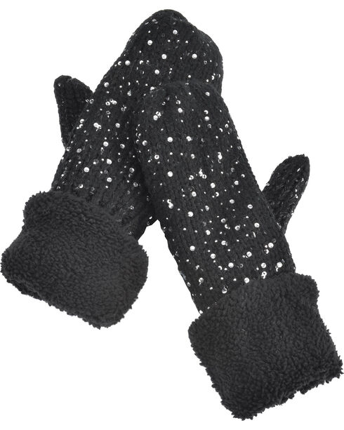 Shyanne Women's Cozy Shimmer Mittens - Cream, Black, hi-res