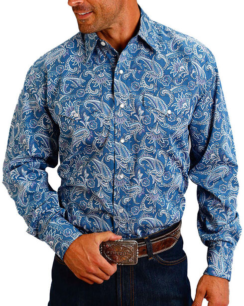 Stetson Men's Paisley Printed Long Sleeve Shirt, Blue, hi-res