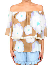 Glam Women's Wild Peony Off Shoulder Blouse , , hi-res
