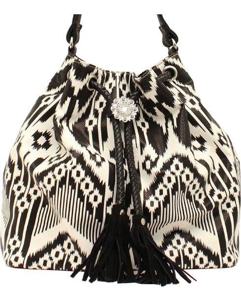 Blazin Roxx Aztec Fringe Bucket Bag, Blk/white, hi-res