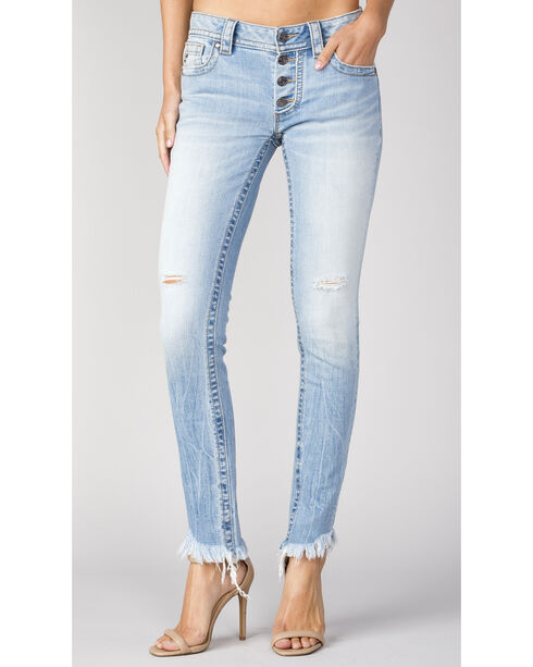Miss Me Women's Frayed-Hem Exposed Button Jeans - Skinny , Indigo, hi-res