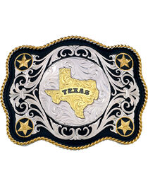 Montana Silversmiths Scalloped Sheridan Texas State Buckle, , hi-res