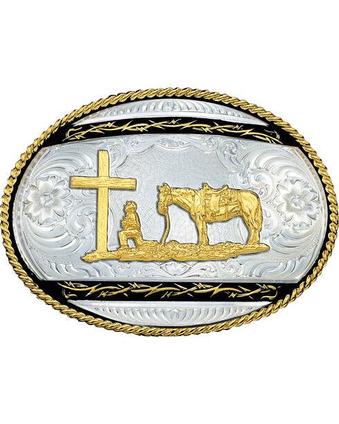Montana Silversmiths Kneeling Cowboy Belt Buckle, Silver, hi-res