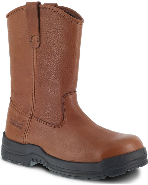Rockport Works More Energy Pull-On Work Boots - Composite Toe, Brown, hi-res