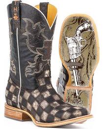 Tin Haul Men's Gun Metal Check Western Boots, , hi-res