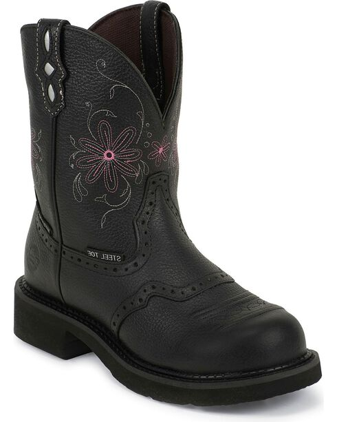 Justin Gypsy Women's Pebbled Steel Toe Work Boots, Black, hi-res