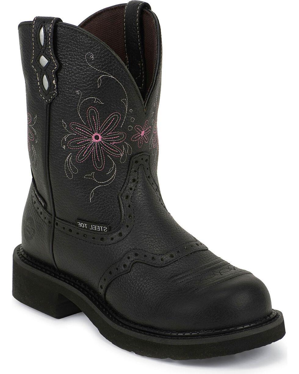 Justin Gypsy Women's Pebbled Steel Toe Work Boots, Black, hi-res