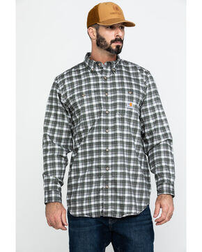 Carhartt Men's Flame Resistant Classic Plaid Shirt - Big & Tall, Grey, hi-res