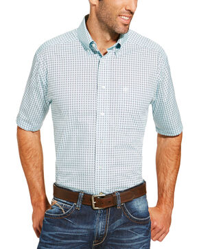 Ariat Men's Light Blue Freeport Print Shirt - Big and Tall, Light Blue, hi-res