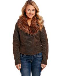 Cripple Creek Women's Asymmetric Faux Fur Jacket, , hi-res