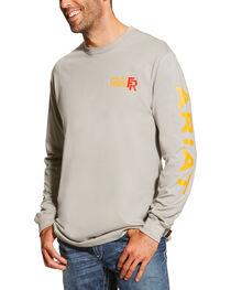 Ariat Men's Grey FR Logo Crew Neck Long Sleeve Shirt, , hi-res