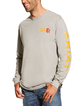 Ariat Men's Grey FR Logo Crew Neck Long Sleeve Shirt - Big and Tall, Grey, hi-res