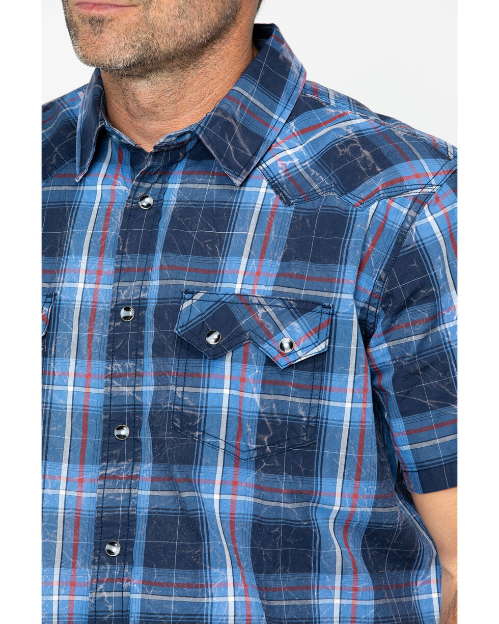 Cody James Men's Campus Plaid Short Sleeve Western Snap Shirt, Navy, hi-res