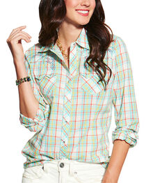 Ariat Women's Highway Plaid Long Sleeve Western Shirt, , hi-res
