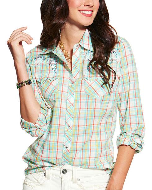 Ariat Women's Highway Plaid Long Sleeve Western Shirt, Multi, hi-res