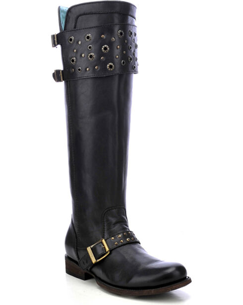 Corral Women's Eyelet Strap Harness Tall Boots, Black, hi-res