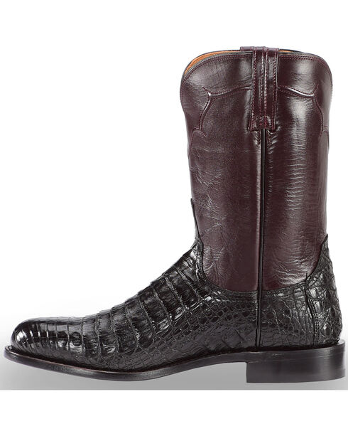 Lucchese Men's Sienna Ultra Caiman Belly Roper Boots, Black, hi-res