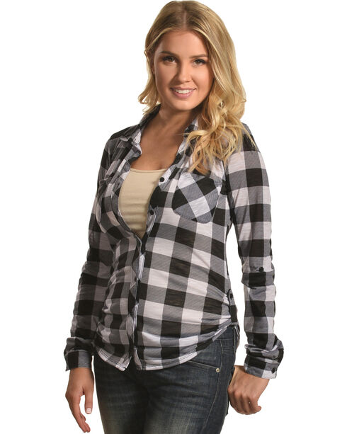 Derek Heart Women's Two Pocket Plaid Button Down Shirt, White, hi-res