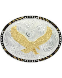 Montana Silversmiths Men's Two-Tone Soaring Eagle Belt Buckle , , hi-res