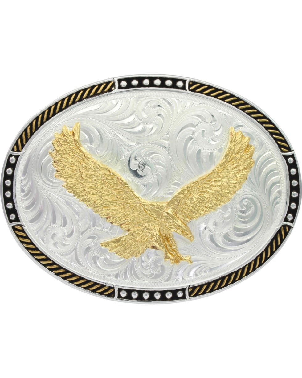 Montana Silversmiths Men's Two-Tone Soaring Eagle Belt Buckle , Silver, hi-res