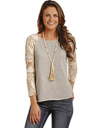 Rock & Roll Cowgirl Women's Crochet Sleeve Terry Pullover, , hi-res