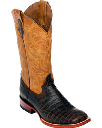 Ferrini Men's Chocolate Brown Caiman Belly Print Western Boots - Square Toe , , hi-res