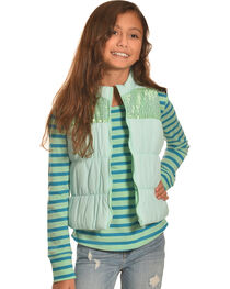 Derek Heart Girls' Aqua Puffy Vest Long Sleeve Tee Combo , , hi-res