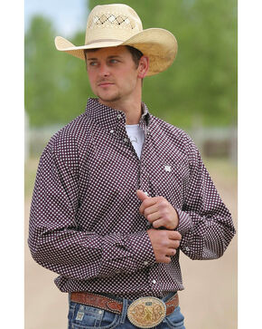 Cinch Men's Cream Mini Print Long Sleeve Shirt , Cream, hi-res