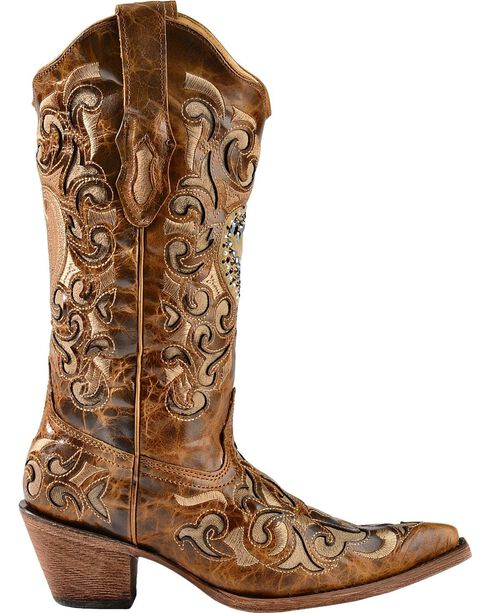 Corral Women's Sand Maipo Crystal Heart Western Boots, Sand, hi-res