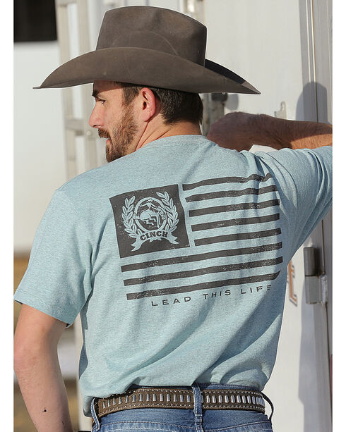 Cinch Men's Lead This Life Americana Jersey Tee, Teal, hi-res