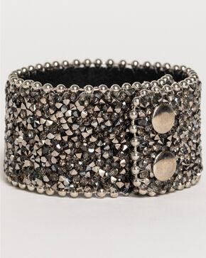 Shyanne® Women's Crystal Snap Cuff Bracelet, Black, hi-res