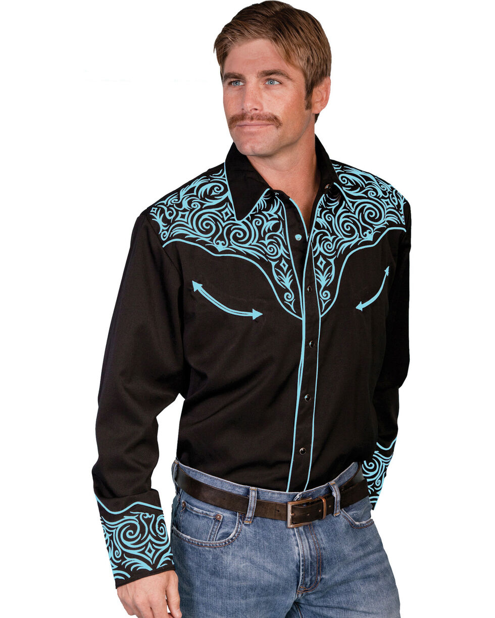 Scully Men's Long Sleeve Embroidered Western Shirt, Turquoise, hi-res