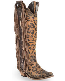 Liberty Black Women's Chita Miel Fringe Cowgirl Boots - Pointed Toe , , hi-res