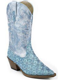 Roper Kid's Snip Toe Floral Glitter Western Boots, , hi-res